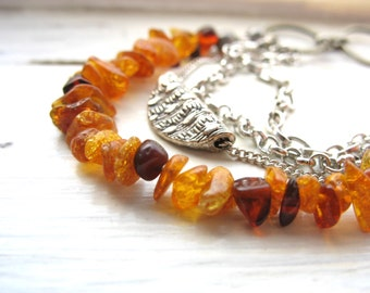 Amber Necklace, Baltic Amber Gemstone Statement Chain Necklace, handmade artisan Baltic Amber jewelry, Gemstone Jewelry