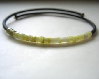 Serpentine Bracelet, Lime Green Serpentine Stone Cuff Bracelet, Handmade Gemstone Jewelry, Gemstone Jewelry, Stone Bracelet