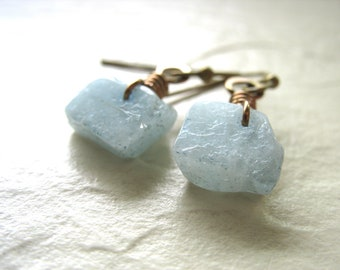 Aquamarine Earrings, Aquamarine Stone Earrings, Handmade Aquamarine Gemstone Dangle Drop Earrings, Aquamarine Jewelry, March Birthstone