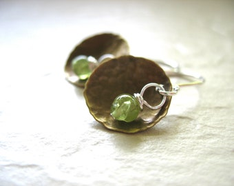 Peridot Earrings, Metalwork Peridot Hammered Brass Dome Handmade Earrings, Peridot Dangle DropEarrings, Peridot Jewelry