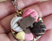 Pan dulce keychain sweet bread puerquito conchita concha charm keychain handpainted mexican plate flowers dia de los muertos art gift party
