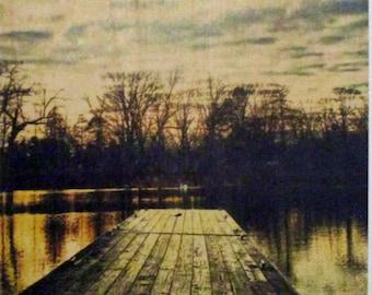 River Scene Photo on Wood