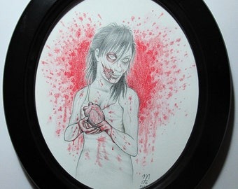 Zombie Valentine - original framed artwork