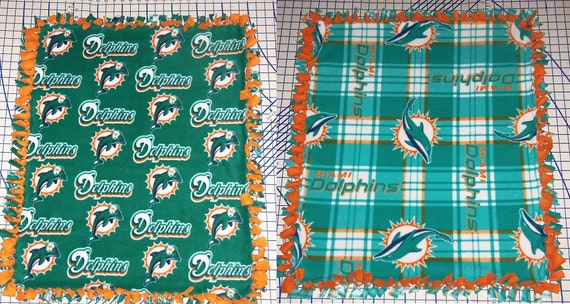 Miami Dolphins Fleece Baby Blanket Pet Lap Hand Tied NFL Etsy New Miami Dolphins Plush Fleece Throw Blanket