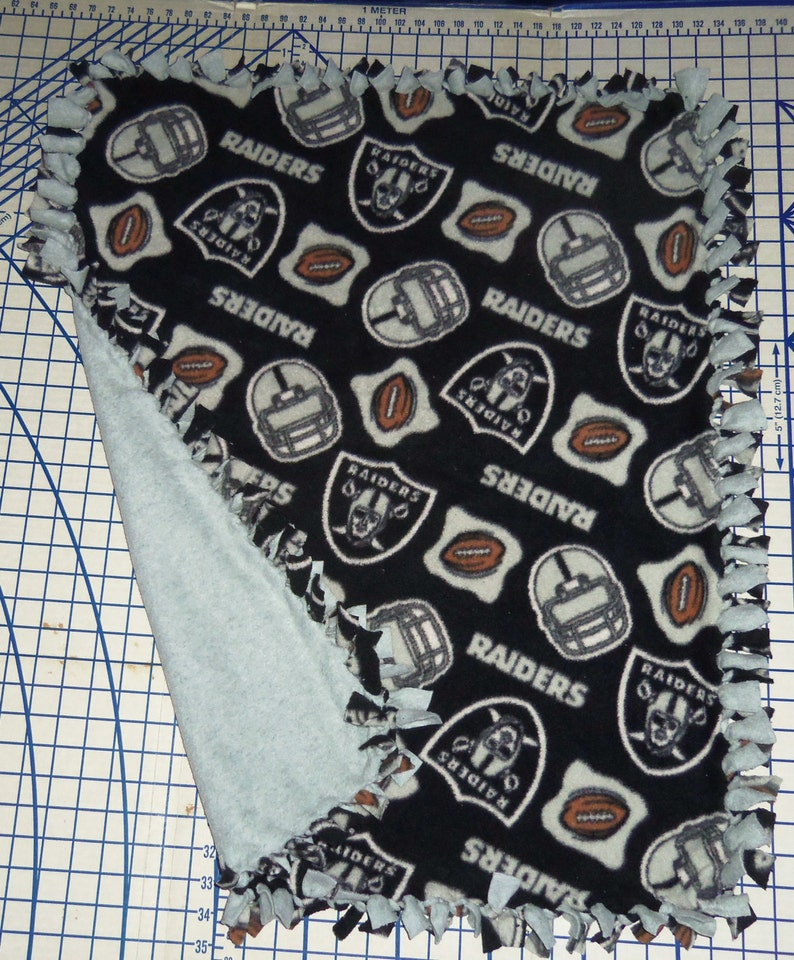 Oakland Raiders Fleece Hand Tied Baby Pet Lap Blanket NFL Football