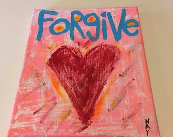Word Art Heart Painting Forgive Original Canvas Quote - Nayarts