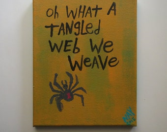 Spider Art Oh What A Tangled Web We Weave Folk Art Word Painting