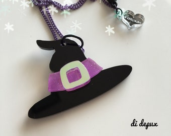Last ever!!!! WITCH HAT laser cut acrylic necklace