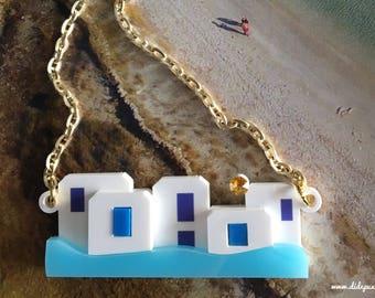 V2 MYKONOS FTELIA Houses laser cut acrylic necklace