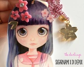 SUGARNAMI for DI DEPUX collaboration  Purple Blosson Blythe laser cut silkscreen print necklace, plexiglass, acrylic, perspex