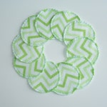 Reusable Cotton Rounds Lime Green Chevron Zig Zag Make-up Remover Pads Washable Facial Rounds