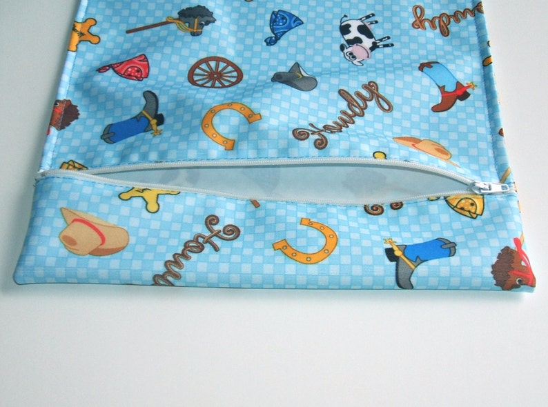 Wet Bag for Cloth Diapering on the Go Blue Cowboy Print image 0