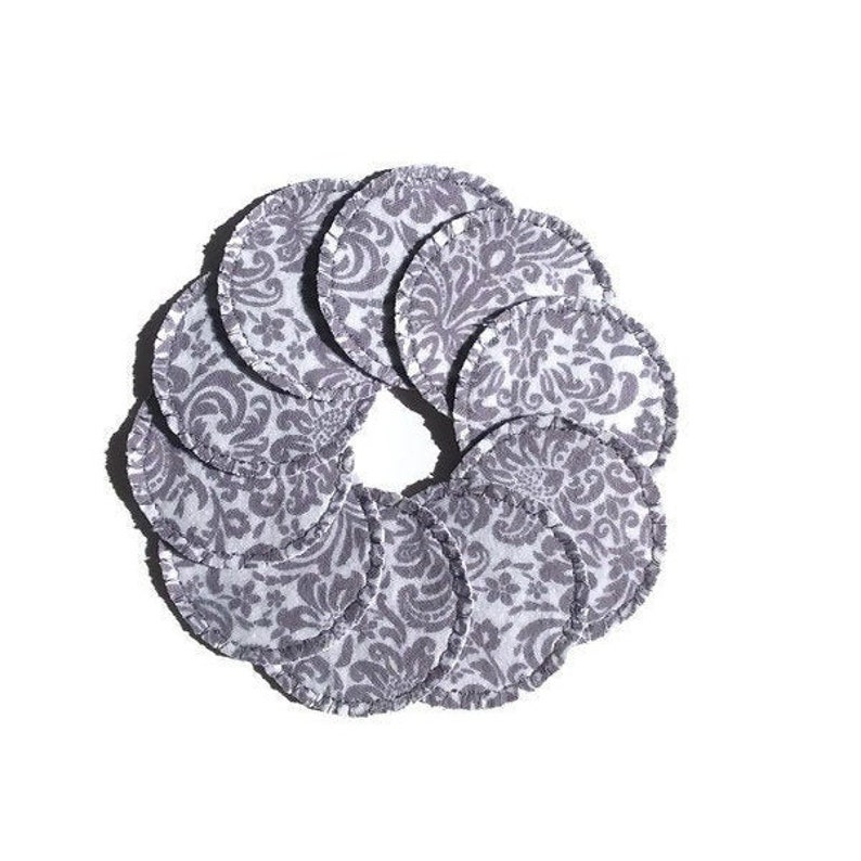 Cotton Rounds Reusable Gray Damask  Make-up Remover Pads image 0