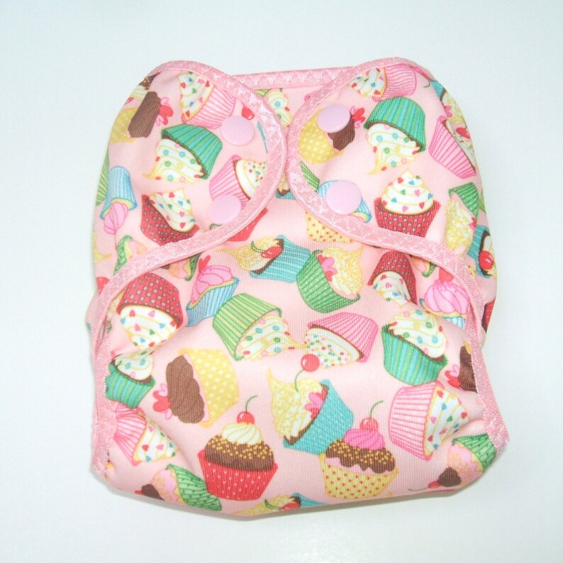 Newborn Cloth Diaper Cover Girl Nappy Wrap with Snaps Pink image 0