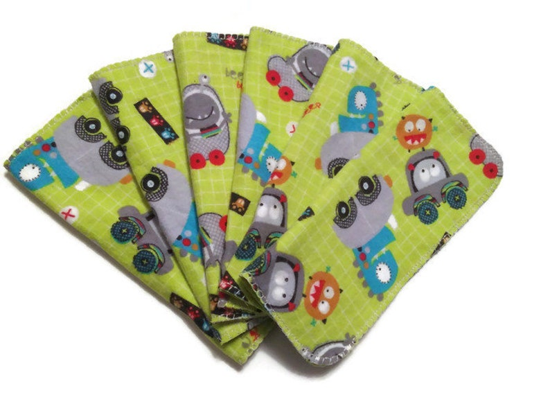 Baby Wipes Monster Cars Set of 6 2 Ply Flannel Diaper Family image 0