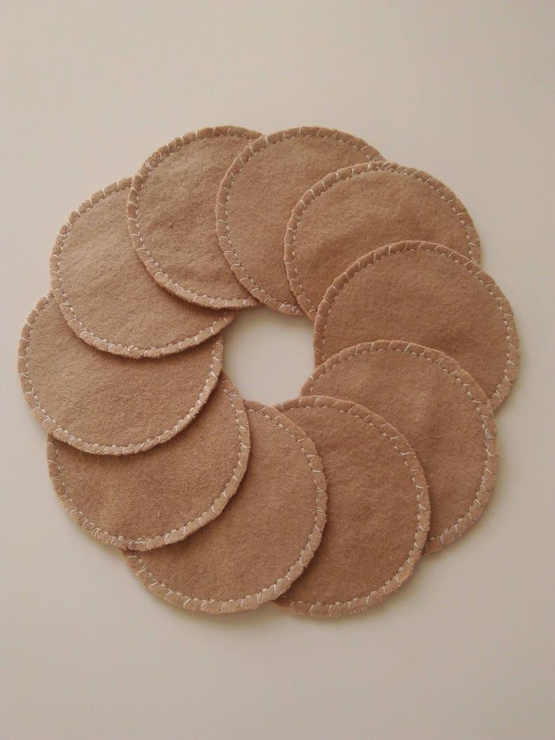 10 Tan Reusable Cotton Rounds Cosmetic Pads image 0