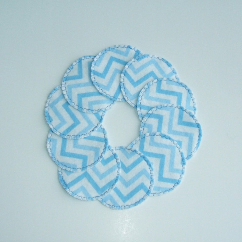 Reusable Cotton Rounds in Blue Chevron for use with Makeup image 0
