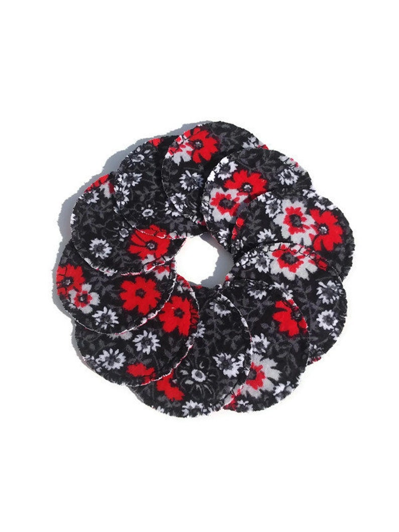 Black Floral Reusable Cotton Rounds Cosmetic Pads image 0
