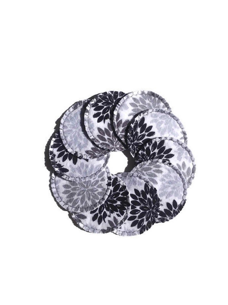 Gray Petal Burst Make-up Remover Pads Washable Reusable Cotton image 0