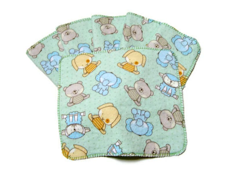 Cloth Baby Wipes Set of 6 2 Ply Flannel Basic Cloth Diaper image 0
