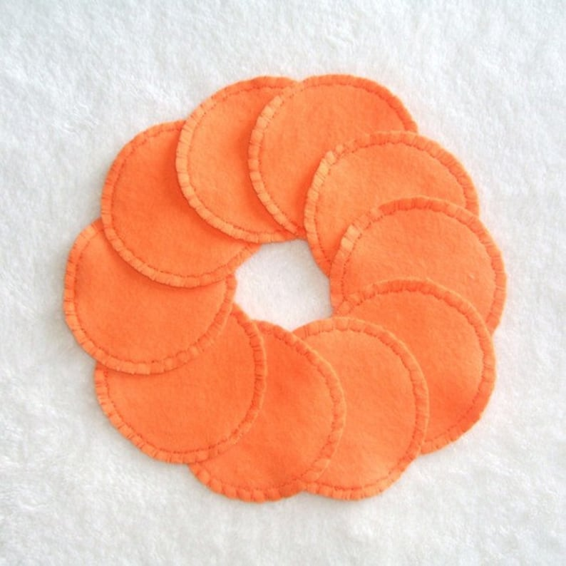 Reusable Cotton Rounds Orange Make-up Remover Pads Cosmetic image 0