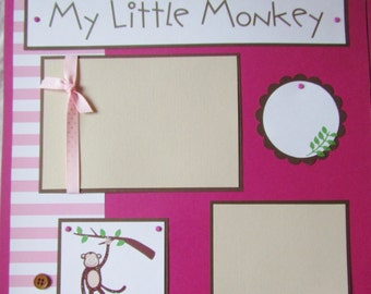 Premade 12x12 Scrapbook Pages - girl layout -- MY LITTLE MONKEY -- I love you, wild thing, baby, kid, toddler, playing outside, scrapbooking
