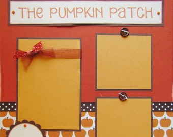 Premade 12x12 Scrapbook Pages  -- THE PUMPKIN PATCH -- FaLL AuTuMn layout for boy, girl, or family, picking pumpkins, baby,kid, fall, autumn