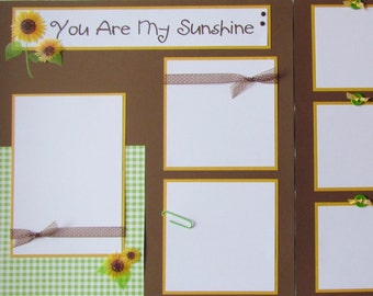 YOU are MY SUNSHINE 12x12 premade scrapbook pages - SuNFLoWers, SuMMeR, FaLL, girl or boy scrapbook layout, baby scrapbooking, kid scrapbook