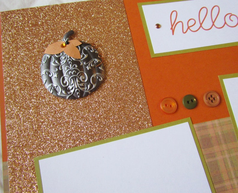 Premade Layout Family Pumpkin Patch HELLO FALL 12x12 Scrapbook Pages CoPPeR PuMPKinS