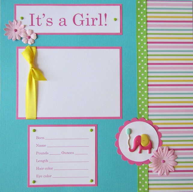 Baby Girl First Year Album 20 12x12 Premade Scrapbook Pages Etsy