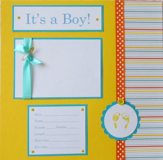 Premade Baby Boy 12x12 Scrapbook Pages Layouts First Year Etsy