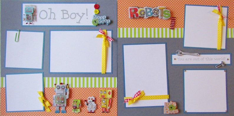 boy handmade scrapbook layout OH BOY 12x12 Premade Scrapbook Pages RoBoTS