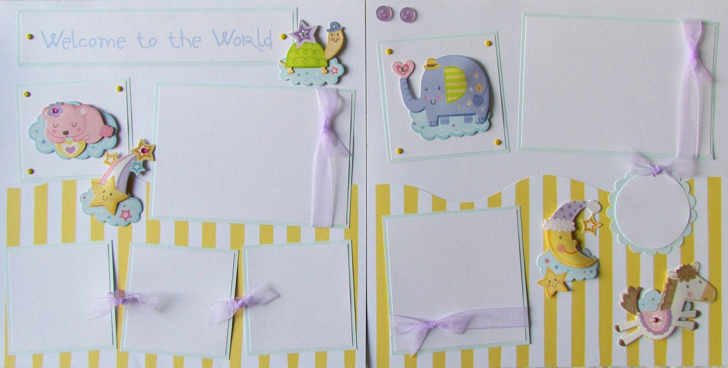 12x12 Premade Scrapbook Pages - baby boy or girl scrapbook layout ...