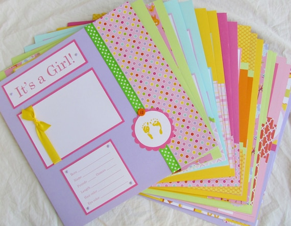 Premade 12x12 Scrapbook Pages 20 Baby Girl Layouts For 12x12 Etsy