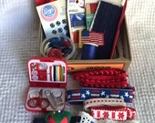 Vintage Treasure Box filled with Vintage Patriotic and RED, WHITE and BLUE Buttons, Trims, Sewing Kit, Notions and More - Inspiration Kit