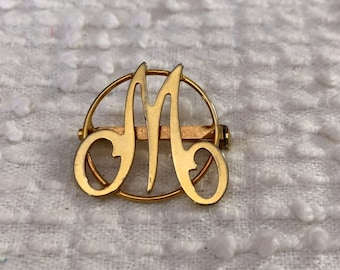 Vintage Lapel Pin with Gift Box FEMALE HAND or SISTER Retro Pin Unique Gift under 25 Vintage Gold Tone Scripted Word or Hand Brooch
