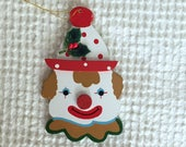 Vintage Painted Wooden Clown Ornament - Package Tie On - Wood Cut Out - Clown Face, Christmas Ornament, Circus