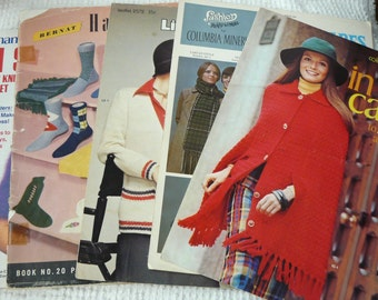 Vintage Knitting and Crochet Pattern Books from 1949 to 1980 - 5 Books - Patterns for hats, scarves, socks, gifts for men, 101 Sweaters