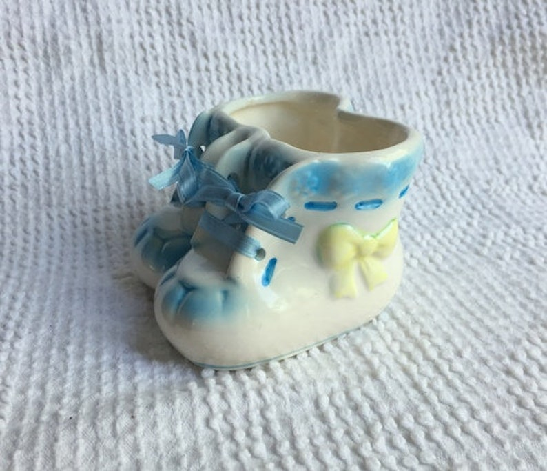 3e2840c5380c9 Vintage Baby Planter - Porcelain White Baby Shoes Planter with Blue and  Yellow Accents - Baby Gift, Shower Nursery Decor, Succulent Planter