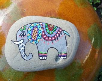 Fancy elephant hand-painted Lake Michigan rock