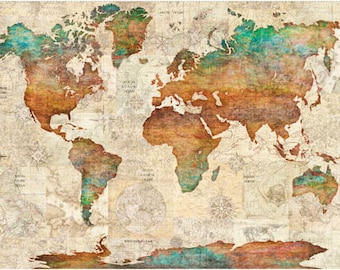 World map fabric etsy wanderlust world map fabric panel qt fabrics dan morris 26726 x gumiabroncs Gallery