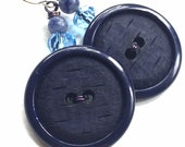 SALE Big Navy Blue Button Earrings - Repurposed Vintage Button Jewelry