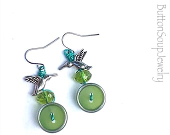 Funky Bird, Bead, and Button Dangle Earrings with Lime Vintage Buttons