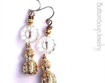 Fancy pineapple mixed media button dangle earrings