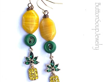 Green Vintage Buttons with fancy pineapple charms Dangle Earrings