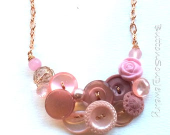 Blush Pale Pink With Rose Gold Color Vintage Button Necklace
