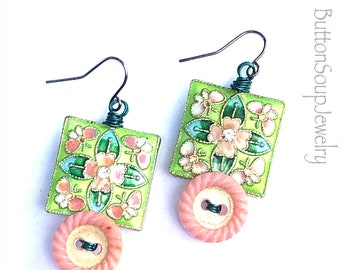 Pink Vintage Button Dangle Earrings with Square Green Floral Beads