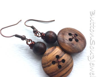 Wood Grain Earrings made with Vintage Buttons  - Chunky Jewelry