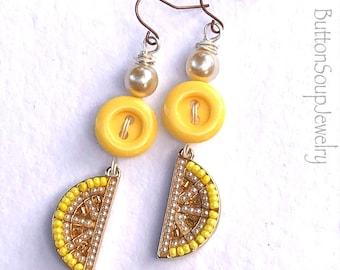 Fancy Lemon Yellow Vintage Button Dangle Earrings