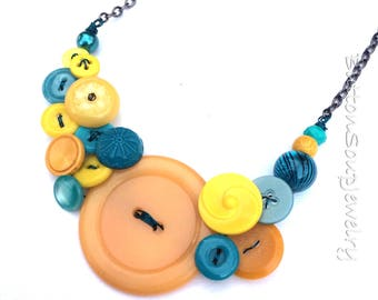 Bright Jewelry - Funky Aqua Blue Teal and Yellow Button Necklace
